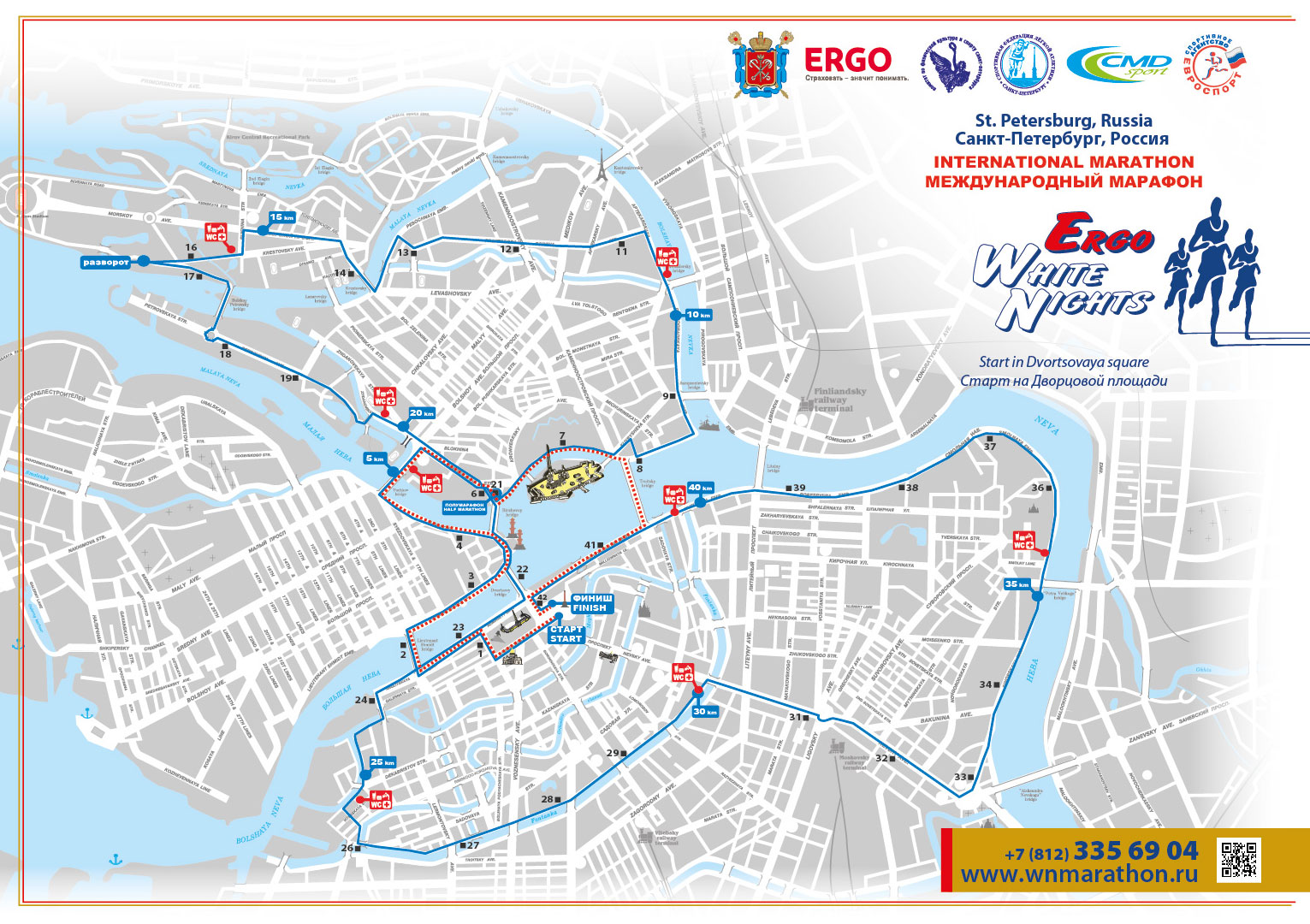 Marathon, Ergo White Nights, Waveaccess, route, winner, distance, 42 km, 10 km, marathoners, runner